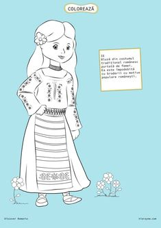 Here's Romania for kids by coloring! You will find all sorts of coloring pages suitable for kindergarten and elementary school kids. Coloring Pages For Girls, Coloring For Kids, Romanian Girls, Spring Crafts For Kids, Moldova, World Cultures, Girl Scouts, Kindergarten, Folk