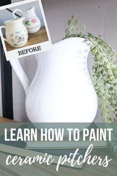You won't believe how easy it is to paint ceramic pitchers from the thrift store! No more buying overpriced farmhouse pitchers.just upcycle them! store crafts vintage DIY White Farmhouse Pitcher From Tacky Thrift Store Find Thrift Store Art, Thrift Store Furniture, Thrift Store Finds, Thrift Stores, Online Thrift, Thrift Store Decorating, Repurposed Furniture, Refurbished Furniture, Farmhouse Pitchers