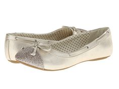 Sperry Top-Sider:   Marina (Platinum) Big Kid/Little Kid The Marina is a lovely  Sperry Top-Sider with all the pretty styling of a ballet flat. The Marina in pewter added with sparkles at the toe makes this ballet a slipper that will make her feel like a winter princess. The new Marina features iconic boat shoe styling like grommet and lacing details along with a tied bow, plus a non-marking siped outsole for traction.