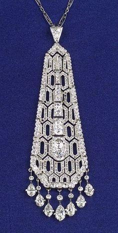 Art Deco Platinum and Diamond Tassel Pendant | More on the myLusciousLife blog: www.mylusciouslife.com