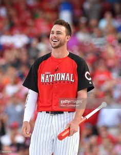 National League All-Star Kris Bryant #17 of the Chicago Cubs looks on and smiles prior to the Gillette Home Run Derby presented by Head & Shoulders at the Great American Ball Park on July 13, 2015 in Cincinnati, Ohio.