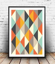 Affiche abstrait, Mid Century Art print, Retro Poster géométrique Art Print, affiche géométrique, art scandinave, art de Triangles, décoration maison