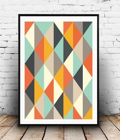 Abstract Poster Mid Century Art print Retro Poster by Wallzilla