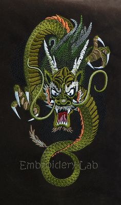 Dragon 0003b digital design for embroidery by EmbroideryLabDesigns