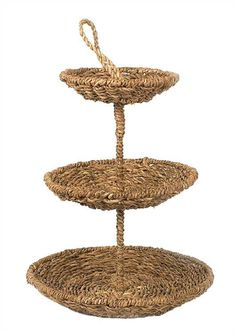 Round Bankuan Rope 3 tier tray with abaca handle, storage or display