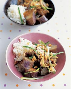 Japanese eggplant and shiitake mushrooms are steamed until tender and dressed in a peanut sauce flavored with ginger, rice vinegar, soy sauce, and brown sugar. Serve this Asian-inspired vegan main dish over rice or noodles. Eggplant Mushroom Recipe, Eggplant Recipes, Mushroom Recipes, Veggie Recipes, Asian Recipes, Vegetarian Recipes, Healthy Recipes, Meal Recipes, Yummy Recipes