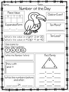 Back to School Number of the Day Morning Work by First Grade Fun Times Math Classroom, Kindergarten Math, Teaching Math, Toddler Classroom, Teaching Aids, Preschool, Math Resources, Math Activities, Math Strategies