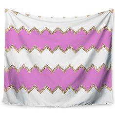 "East Urban Home Avalon Pink Chevron by Monika Strigel Wall Tapestry Size: 60"" H x 80"" W"