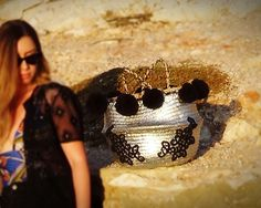 #handmade_by_elma #100%handmade #boho #bohobags #bohostyle #bohochic #silver #black #pompom #greece