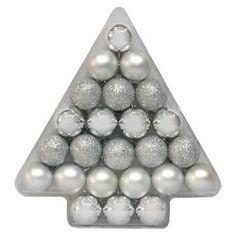 24ct 40mm Silver Shatterproof Christmas Ornament Set - Wondershop™
