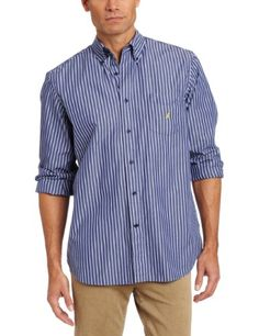 Looks so GOOD on a Man! mhmm!!   Amazon.com: Nautica Men's Long Sleeve Poplin Bengal Stripe Woven: Clothing