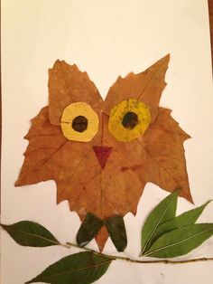 Owl by Elodie (Aged Crafts For Kids, Arts And Crafts, Autumn Art, Painting For Kids, Art Activities, Leaf Tattoos, Owl, Holidays, Children