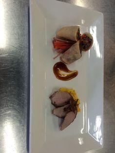 Smoked duck spring roll, roasted duck breast, hoisin bbq sauce, mango salsa