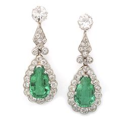 Emerald And Diamond Necklace | | Emerald and Diamond Pendant Earrings | - FABERGE, Antique Jewelry ...