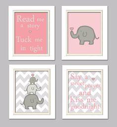 Nursery Quad Pink and Grey Elephant Nursery