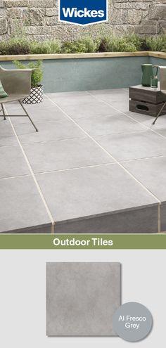 Wickes are perfect for areas of the These Al Fresco Grey tiles are stylish, versatile and durable. Slate Garden, Garden Tiles, Patio Tiles, Garden Paving, Garden Art, Dream Garden, Herb Garden, Outdoor Paving, Indoor Outdoor