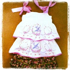 Vintage pillow case top with coordinating shorts.