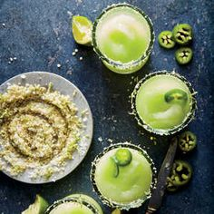 Honeydew jalapeño margaritas (127 calories per serving)