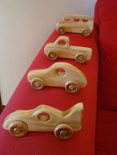 Winston Woodworks Handmade Wooden Pine Push Toys set of 4 VW