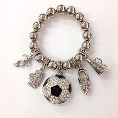 PIERCED Vintage Clear Rhinestone Black Enamel Silver Tone Soccer Ball Earrings Costume Jewelry Resale Sale Sports Football Basketball Mom