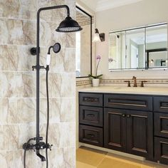 Chester Classic Vintage Bathroom Exposed Rainfall Shower System with Handheld Shower & Tub Spout Antique Black - Shower Faucets - Bath & Faucets Shower Faucet Sets, Shower Fixtures, Shower Valve, Shower Tub, Rain Shower Bathroom, Chester, Large Shower Heads, Brass Shower Head, Mixer Shower