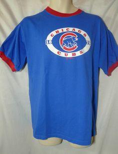 Chicago Cubs T Shirt Sz L Majestic Genuine MLB shirt Blue Red trim