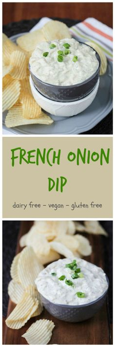 Vegan French Onion Dip with Dill - a combo of my two favorite dips - french onion dip and dill dip. It's creamy and tangy and contains 2 whole onions! It the perfect pairing with potato chips, raw veggies, pita chips or crackers. Cure your munchies with this vegan french onion dip with dill!