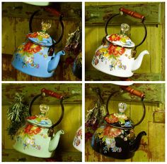 MacKenzie-Childs tea kettles-- the blue one...I'm in love!!!!