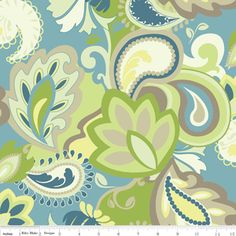 This is the sort of color palette I am looking for, for the Master Bedroom/Bath...love the blues and greens. Fresh and still soft.   Emily Taylor - Vintage Verona - Main in Green