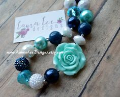 READY TO SHIP Navy Blue Aqua and White by LauraLeeDesigns108