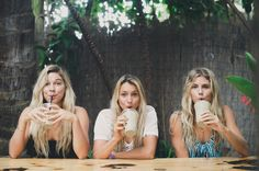 Sippin on the good stuff. Coco, Maud + Quincy. #volcomwomens #truetothis #surftripmaui