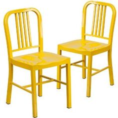 Amazon.com - Flash Furniture Metal Indoor/Outdoor Chair (2 Pack), Yellow - Chairs