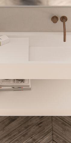Piet Boon designkranen bycocoon.com | Piet Boon® by COCOON | moderne rvs badkamerkranen ontworpen door Piet Boon voor het design merk COCOON | badkamer design | minimalist bathroom | PB SET01 mixer and spout in Raw Copper finishing | with our custom made washbasin | Dutch Designer Brand COCOON