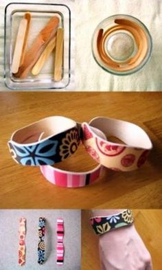 DIY: popsicle stick bracelets: boil in water for 15 minutes then place in cup to dry. Decorate with markers, buttons, glitter, or decoupage. Royer new use for those popsicle sticks.I may bring some of these with me. Kids Crafts, Cute Crafts, Crafts To Make, Craft Projects, Arts And Crafts, Family Crafts, Easy Crafts, Science Crafts, Upcycled Crafts