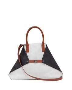 Ai Medium Tricolor Leather Messenger Bag by Akris at Bergdorf Goodman.
