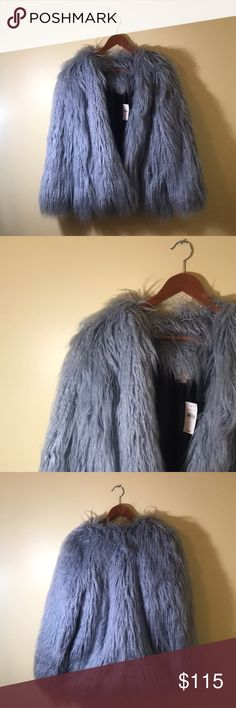 NEW WITH TAG (NWT) LOFT Dusty Blue Faux Fur Jacket ✨ Hermès link, ice blue mink ✨  NEW WITH TAGS. I will hate to see this go, but I'll love to see you SLAY in this LOFT Faux Fur Jacket. Hook and eye in front. Gorgeous light, dusty blue color. Size: Large.   This is a SOLD OUT, ONLINE EXCLUSIVE! LOFT Jackets & Coats Puffers