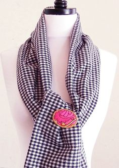 Houndstooth Scarf, Classic Wool Scarves, Black and White Tube Scarf, Accent Scarf, Warm Scarves, Nec