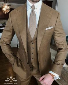 men suits wedding -- Click visit link above for more options Sharp Dressed Man, Well Dressed Men, Mens Fashion Suits, Mens Suits, Fashion Wear, Style Fashion, Suit Combinations, Designer Suits For Men, Brown Suits