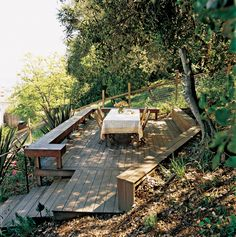 New deck and stairs tame a slope three ways to conquer a steep backyard Steep Backyard, Sloped Backyard Landscaping, Sloped Yard, Big Backyard, Landscaping Ideas, Backyard Ideas, Patio Ideas, Deck Ideas Slope, Steep Hill Landscaping