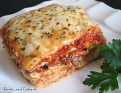 For the Love of Cooking » Roasted Vegetable Lasagna- ricotta, mozzarella, Parmesan, basil, zucchini, yellow squash, broccoli, carrots, red onion, sweet bell peppers, garlic