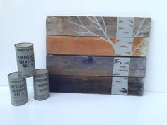 For that big bedroom wall... Rustic pallet art with grey aspen tree by LucysLikeables on Etsy, $60.00
