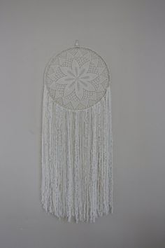This large white crochet lace dream catcher is a beautiful wall hanging can be used as wedding decor as well. Lace Dream Catchers, Dream Catcher Boho, Dream Catcher Nursery, Boho Wedding Decorations, Beautiful Wall, Large White, Bohemian Decor, Crochet Lace, Bedroom Decor