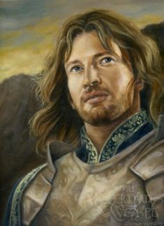 "Faramir. ""Here was one with an air of high nobility such as Aragorn at times revealed, less high perhaps, yet also less incalculable and remote: one of the Kings of Men born into a later time, but touched with the wisdom and sadness of the Eldar Race. He was a captain that men would follow, that he would follow, even under the shadow of the black wings."""