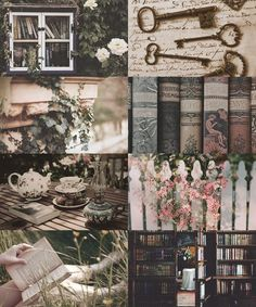 Make Me Choose: Secret Library or and Secret Garden garden aesthetic The Moon in a Jar Witch Aesthetic, Book Aesthetic, Aesthetic Collage, Character Aesthetic, Writing Inspiration, Color Inspiration, Character Inspiration, Photocollage, Diy Garden