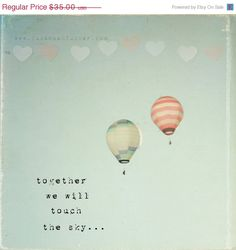 CIJ Whimsical hot air balloon photo, typographic print, hearts, sky, red and white stripes, nursery art, childrens wall art, 8x8 photo