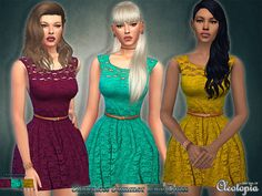 This cute little dress comes in three fresh and nowadays stylish colors, a purplish, a teal one and a yellow/mustard one. Mesh@NIA  Found in TSR Category 'Sims 4 Female Everyday'