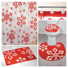 Terry's Village is your source for affordable home decor, holiday decorations, collectibles and gifts! Christmas Activities, Christmas Crafts, Christmas Decorations, Christmas Stuff, Holiday Shower Curtains, Wash Shower Curtain, Orange Bathroom Accessories, Christmas Bathroom Decor, Bathroom Collections