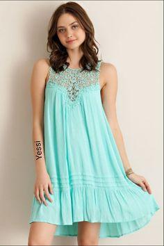 "womens_fashion-Lace Yoke Dress - Mint ""Dresses and Tunics"" Mint Green Dress, Green Lace Dresses, Mint Blue, Blue Lace, Sheer Lace Dress, Ruffle Dress, Cowgirl Dresses, Crochet Blouse, Crochet Trim"