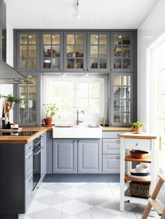 Ikea Gray Kitchen Cabinets  http://www.primitivekitchendecor.com/ikea-kitchen-cabinet-color-options-in-grey-paint-colors-with-white-porcelain-apron-front-sink-also-glass-electric-cooktop-above-wood-countertop-design-ideas/