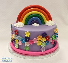 Fondant Toppers, Fondant Cakes, Single Tier Cake, Childrens Party, Tiered Cakes, Party Cakes, Birthday Cake, Rainbow, Baking